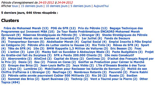 Detection et classification automatique des sujets dans la presse (1300 sources)